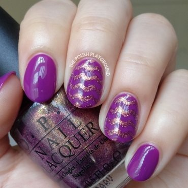 Golden Purple Chevron Nail Art nail art by Lisa N