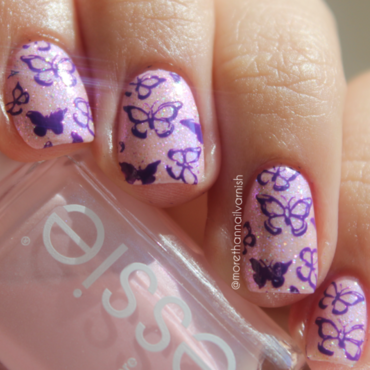 Purple butterfly nail art nail art by Reelika