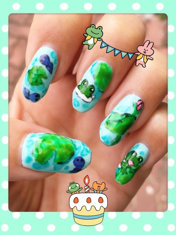 Tadpoles and Froggies (watercolor series) nail art by Idreaminpolish