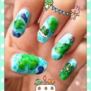 Tadpoles and Froggies (watercolor series) nail art by Idreaminpolish