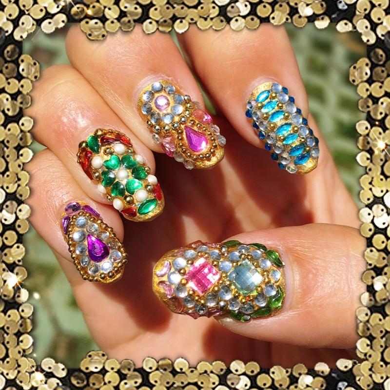 indian bling nail art by Idreaminpolish