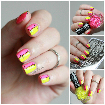 Nail art stamping fluo  nail art by Lovely Nail's  Art