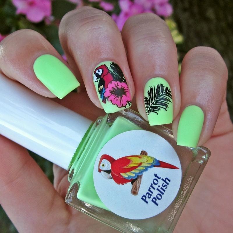 Parrot nails nail art by Sanela