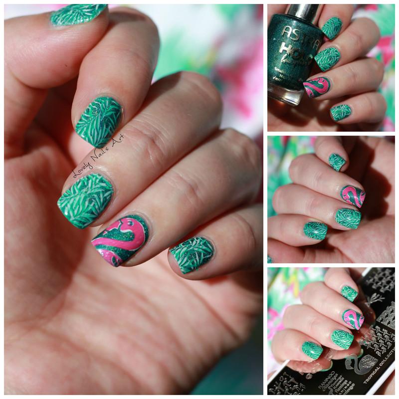 Nail art stamping flamant rose nail art by Lovely Nail's  Art