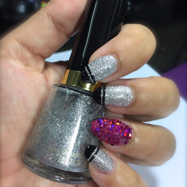 Silver and Pink Glitter Nails nail art by Demi