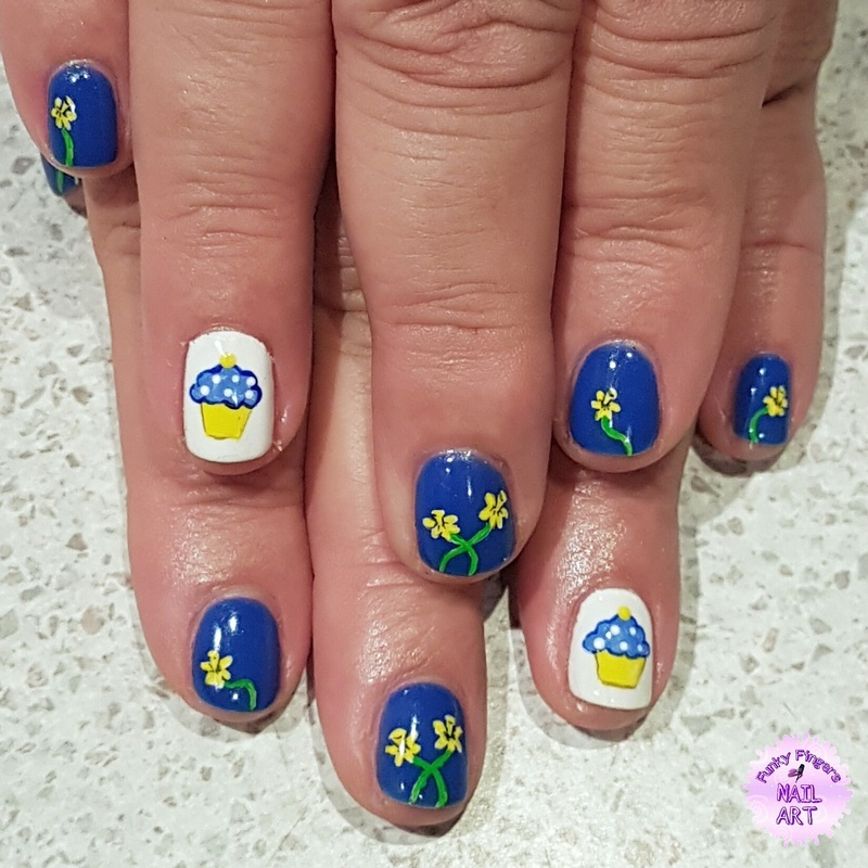 Daffodil day nails nail art by Funky fingers nail art