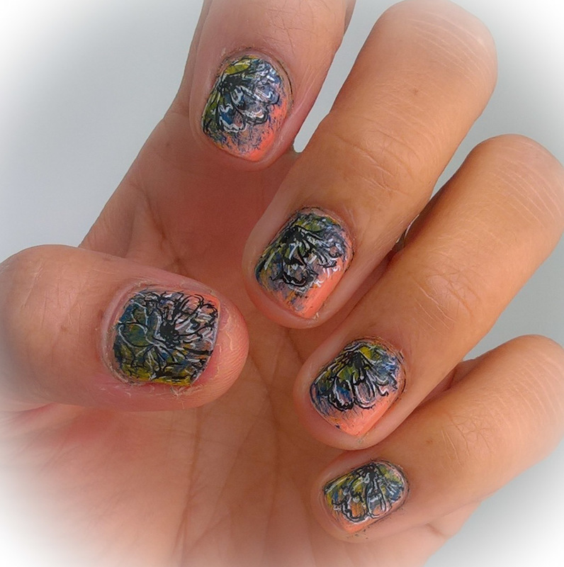 #fanbrushfriday and double stamping  nail art by Avesur Europa