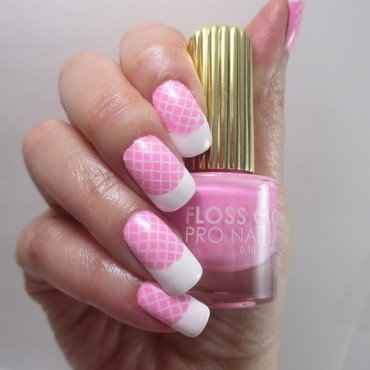 Pink French nail art by NinaB