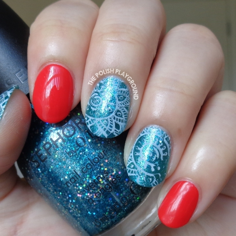 Red With Blue Glitter And White Faded Stamping Nail Art By Lisa N