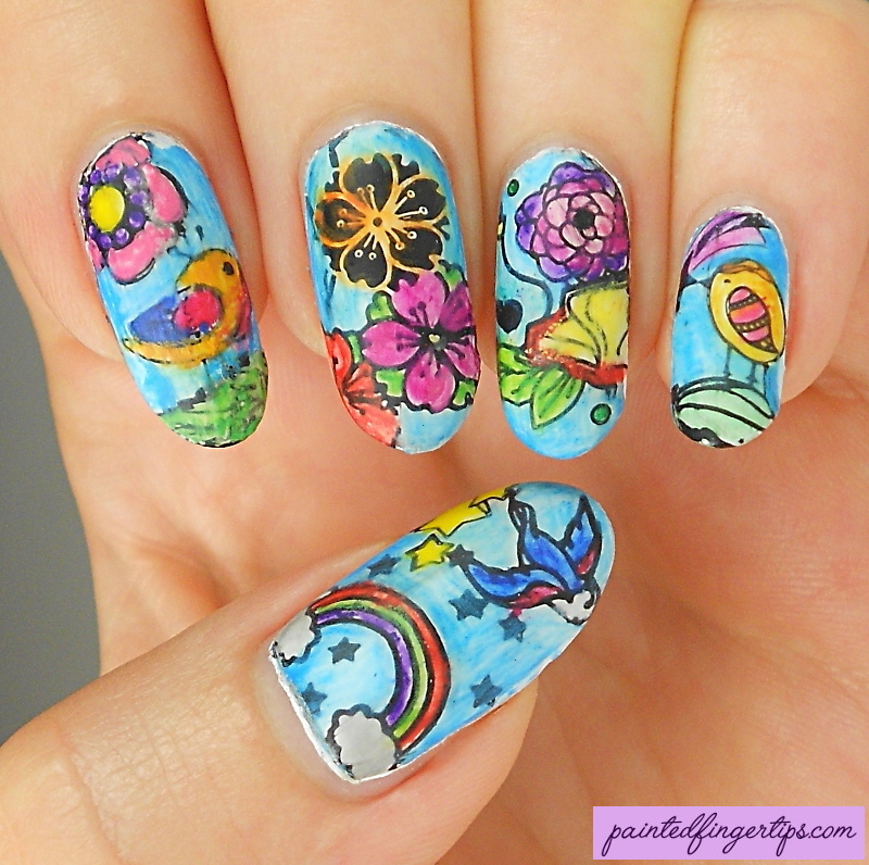 Colouring book nails nail art by Kerry_Fingertips