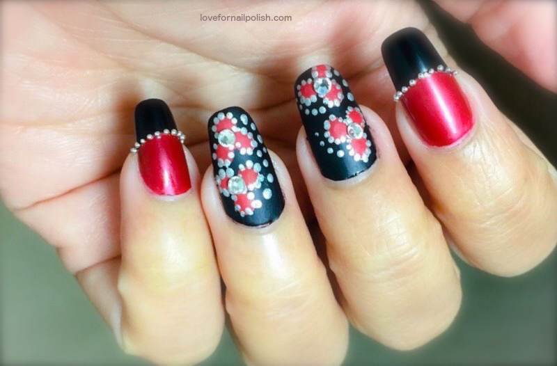 Red And Black Matte Nail Design Nail Art By Demi Nailpolis Museum