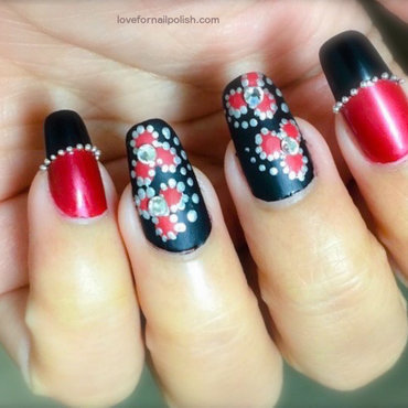 Red and Black Matte Nail Design nail art by Demi