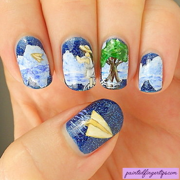 Paper planes nail art by Kerry_Fingertips