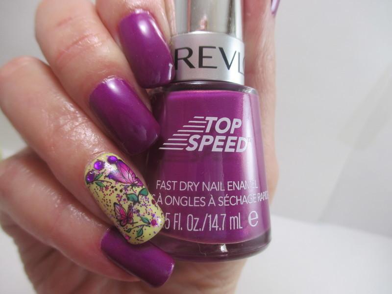 Violet Butterflies nail art by NinaB