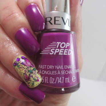 Violet Butterflies nail art by NinaB