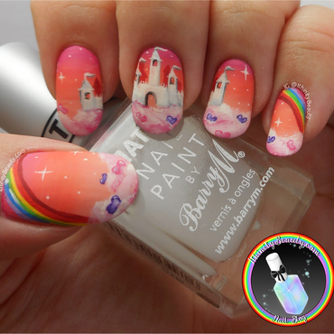 Freehand Sky Castle nail art by Ithfifi Williams