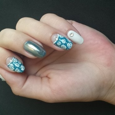 teal half moon mani & mirror chrome nail art by mariejane
