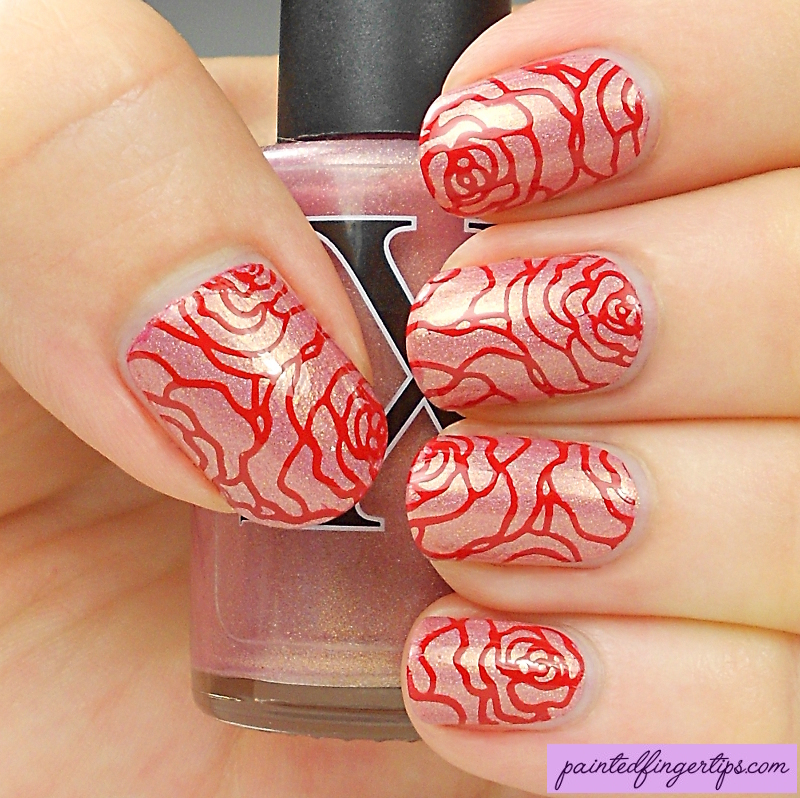 Red rose stamping nail art by Kerry_Fingertips
