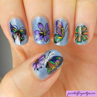 Flower and butterfly stamping decals thumb370f