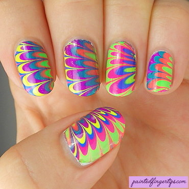 PDP water marble nail art by Kerry_Fingertips
