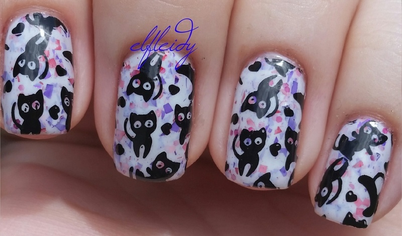 Cutesy kitties nail art by Jenette Maitland-Tomblin