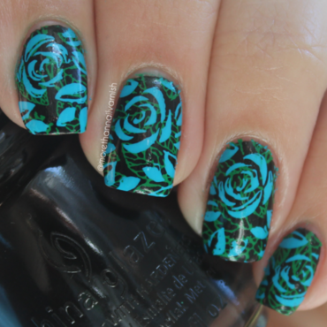 Blue roses - Inspired by Mgielka M here on nailpolis nail art by Reelika