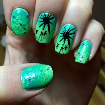 Palm Trees nail art by Meggy