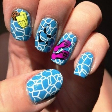 Pool party nail art by Meggy