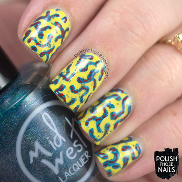 Yellow glitter teal holo random pattern nail art 4 thumb370f