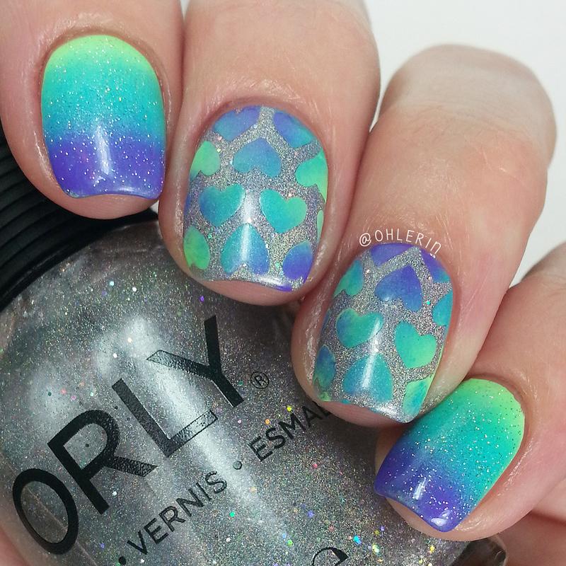 Gradient hearts nail art by Lindsay
