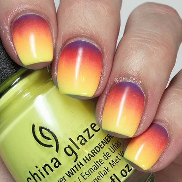 Sunset gradient nail art by Lindsay