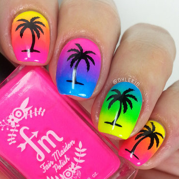 Neon gradient palm trees nail art by Lindsay