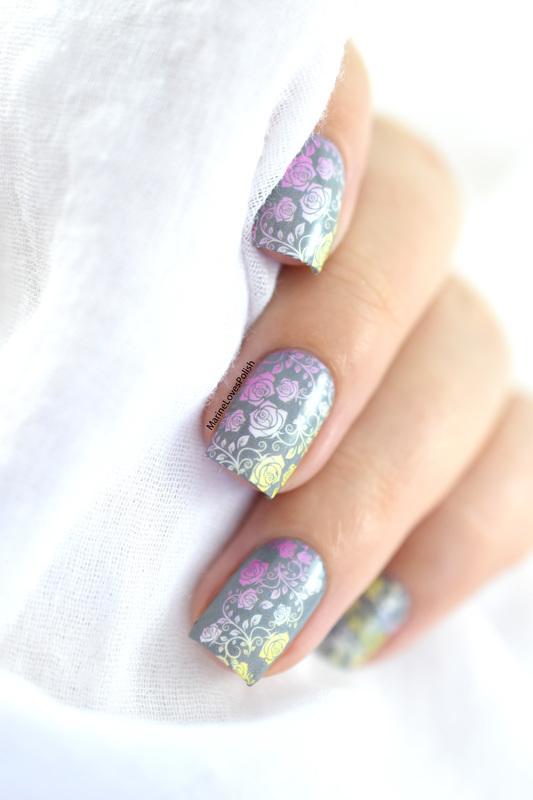 Faded floral nail art by Marine Loves Polish