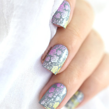 Faded floral nail art by Marine Loves Polish