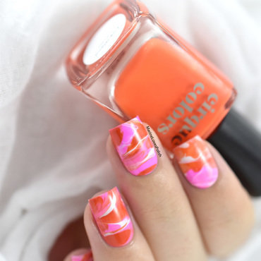 Neon Marble nail art by Marine Loves Polish
