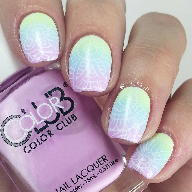 Stamped pastel gradient nail art by Lindsay