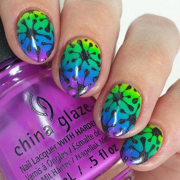 Neon splatter nail art by Lindsay