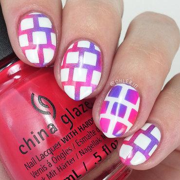 Neon squares nail art by Lindsay