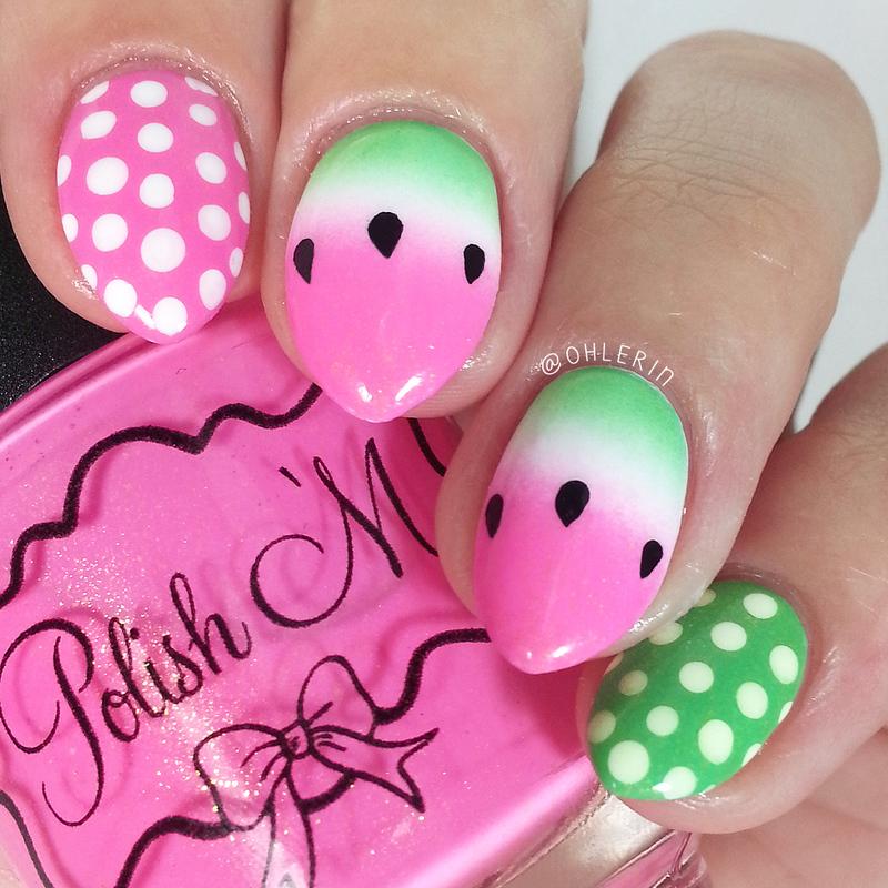 Watermelon nail art nail art by Lindsay