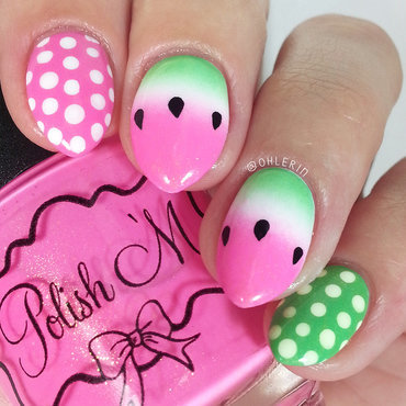 Watermelon nail art nail art by Lindsay