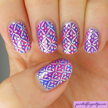 Water marble with silver stamping nail art by Kerry_Fingertips