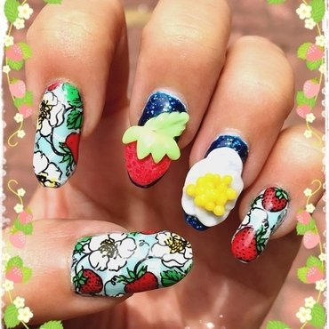 strawberries all day and all night nail art by Idreaminpolish