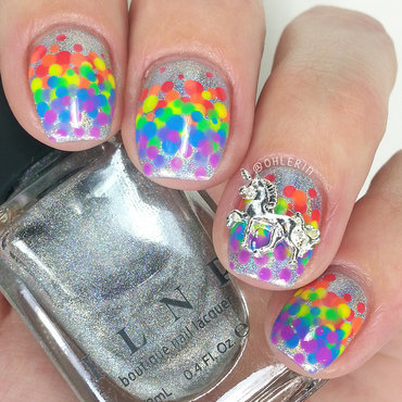 Rainbow dots nail art by Lindsay