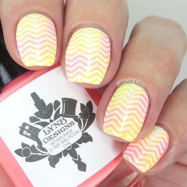Pastel neon chevrons nail art by Lindsay