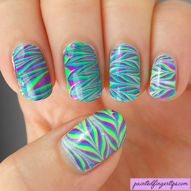Neon water marble nail art by Kerry_Fingertips - Nailpolis: Museum ...