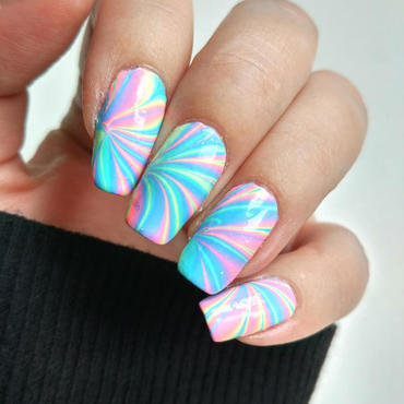 Rainbow Watermarble nail art by Salla Hietanen