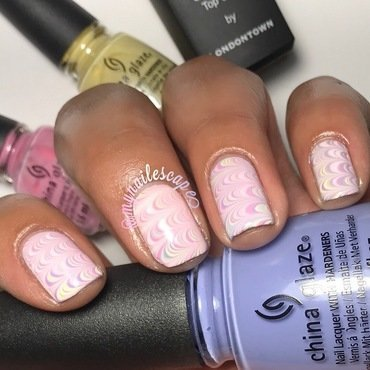 Pastel Watermarble nail art by Alayna  B