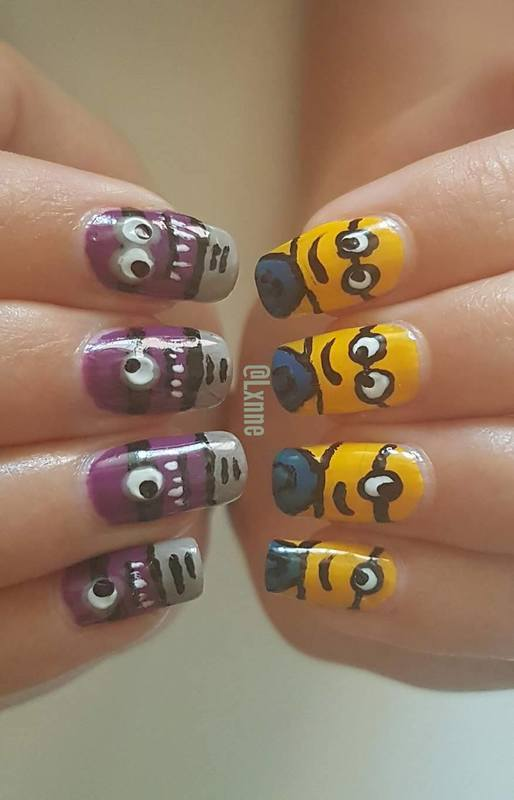 Minion vs. Minion nail art by Lxnne