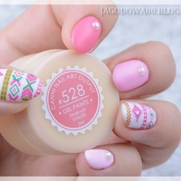 Pink aztec nails. nail art by Jadwiga