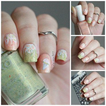 Nail art stamping ice cream  nail art by Lovely Nail's  Art